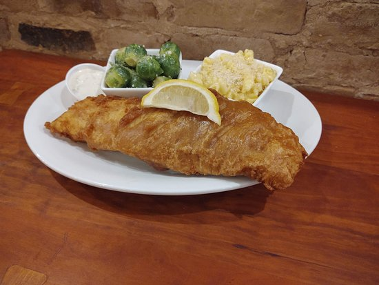 Albion, NY: Giant Guinness beer battered haddock, roasted brussels sprouts, and our homemade smoked gouda mac n' cheese!