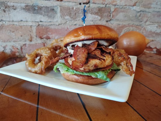 Albion, NY: Chix and bacon sandwich with fresh hand battered onion rings!