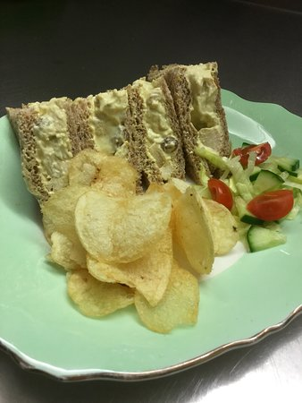 Llanidloes, UK: Coronation chicken sandwich, made to order.