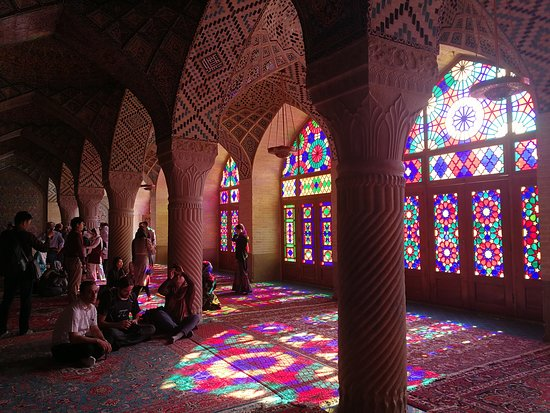 Pink mosque or Nasir ol Molk mosque is known of its lavish tile work with pink being the main color and the stunning colorful windows of the praying hall. This magnificent mosque is the only mosque in Iran in which pink is used as the main color in the tiles and has one of the most significant Muqranas work among the mosques. The best time to visit Nasir ol Molk mosque is in the morning when the sun shines through the colorful windows and creates a dazzling view.