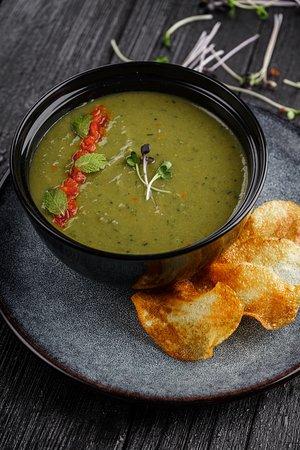 Фасолевый крем-суп с крафтовыми картофельными чипсами