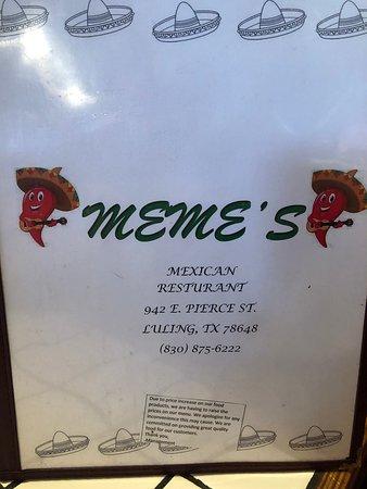 Menu February 2020 Picture Of Meme S Mexican Restaurant Luling Tripadvisor