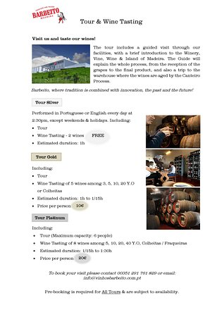 Tour & Wine Tasting Packages Feel free to contact us to book!