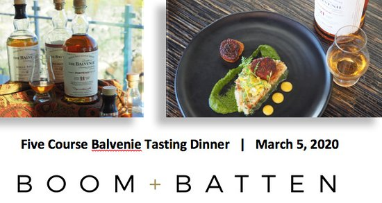 Scotch lovers event at Boom + Batten - reservations recommended.