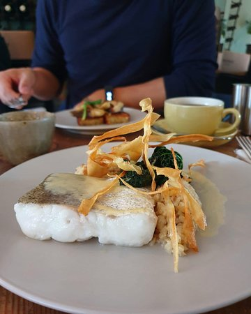 Cornish Hake with Crushed Cauliflower, Cavolo Nero and Parsnip Crisps
