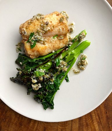 Monkfish Tail, Alexander Root Puree, Purple Sprouting Broccoli & Garlic, Parsley Dressing