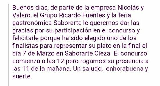 ¡#SELECCIONADOS #FINALISTAS! Un orgullo compartirlo con todos vosotros #ZEQUIA Y NUESTRO COCINERO #ANTONIO #OLIVARES CANO entre los ocho mejores restaurantes que participan EN LA FINAL DEL CONCURSO DEL MEJOR #TARTAR DE ATÚN ROJO DE LA REGIÓN DE MURCIA. El Sábado día 07 de Marzo estaremos en #SABORARTE. #FERIA #GASTRONÓMICA DE LA #FLORACIÓN DE CIEZA, con más ilusión que nunca por seguir desarrollando y dando a conocer nuestro proyecto.