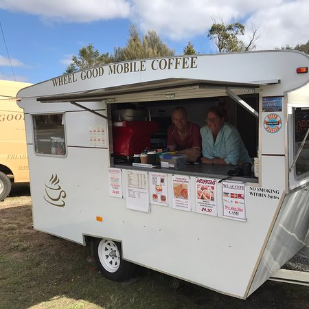 Tom and Nancy's great coffee van, a must stop when passing through Orford.