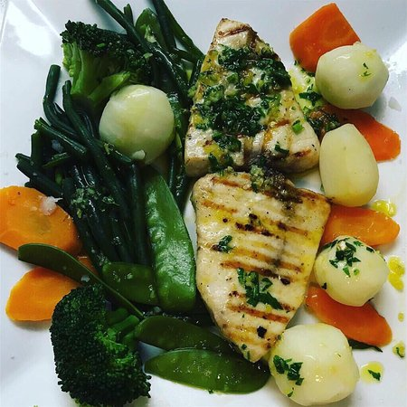 Grilled Swordfish with vegetables