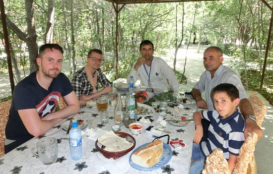 Delicious lunch with Irish tourists in one of luxury  restaurants of   Nakhchivan