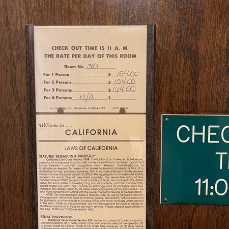 Bear Valley, Californie : in room rag on the door