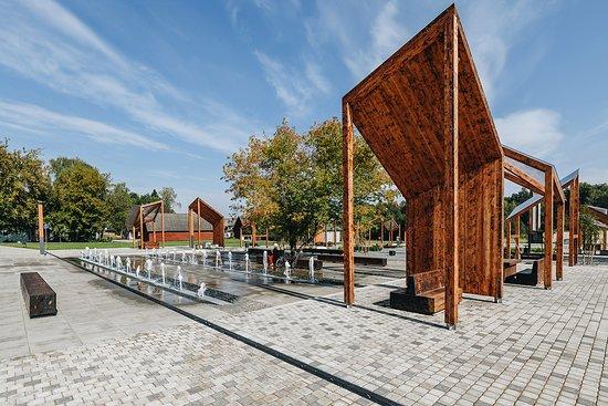 Polva, Estonsko: Fountaine is important part of the square, kid's favourite.