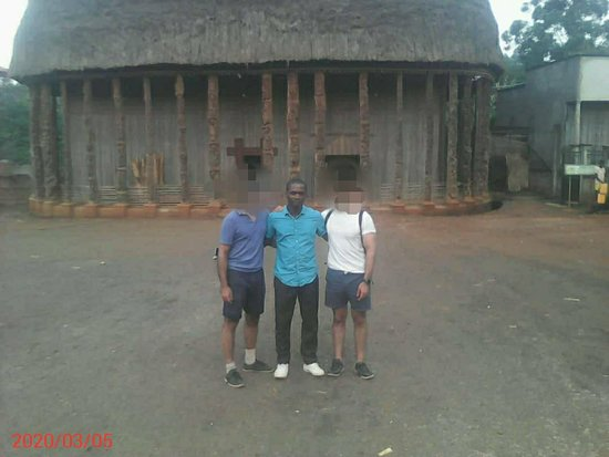 """With two amazing UK tourist, we made an interesting trip around Cameroon. Here we are at Bandjoun in the West region were the visited the """"Chefferie de Bandjoun"""". In the West region, we went also at Foumban, Bafoussam and went and admire the hills of Dschang.  You can ask to one of them to share with you his beautiful experience. His trip advisor ID is :  383KM"""