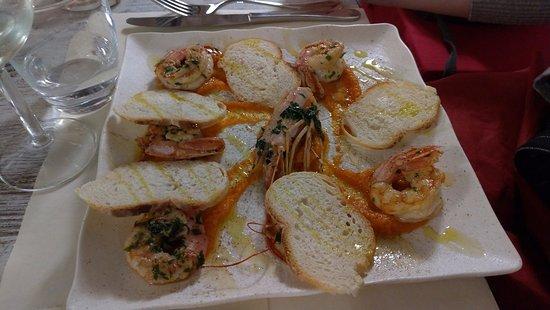 Orvinio, Italy: Gamberi e vellutata di zucca