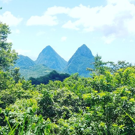Soufriere Quarter, St. Lucia: How our majestic twin pitons look from a distance
