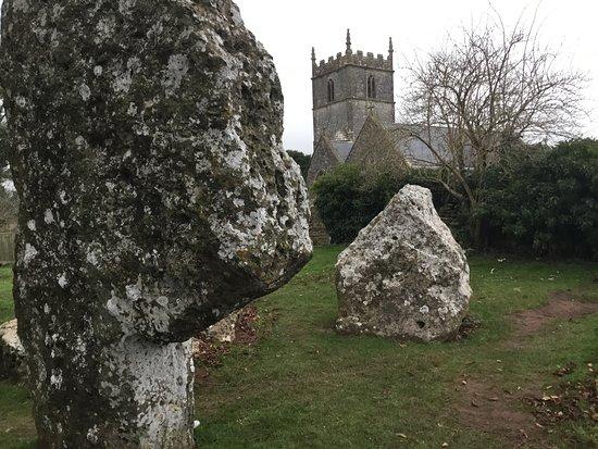 Stanton Drew, UK: The standing stones in the pub garden