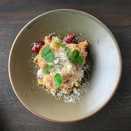 Southern-style Cauliflower| buttermilk | pomegranate | mole | gherkins | corn | caraway | comté