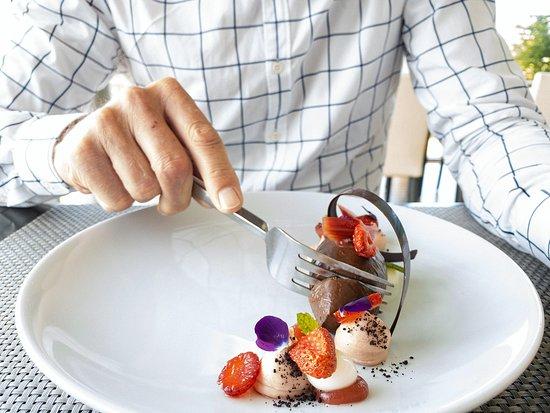 Valrhona crémeux | Scott's strawberries | rhubarb | Origin Earth yoghurt