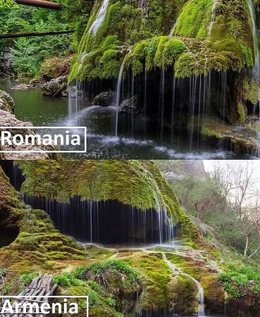 Aghdara, Aserbajdsjan: #MamrotKar #Waterfall☔💦  Known popularly as Hovanots or Zontik. A deep water source comes out of the stone of the canyon to form a perpetually dripping waterfall in the shape of a huge mossy umbrella. With a cave underneath the umbrella, this spectacular natural monument causes wonderment to visitors of all ages, and is a highlight of the canyon.  Mamrot Kar waterfall is along side the Karkar River in a beautiful spot with a swimming hole. The picturesque spot is also under the ever present cli