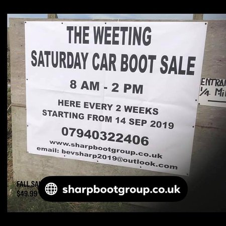 Weeting Saturday boot fair & antique fair every 2 weeks from the 7 March 21 March 4 April etc  free public entry  toilets & refreshments available  every one welcome  lynn rd Brandon IP27 OQW  8-2 pm
