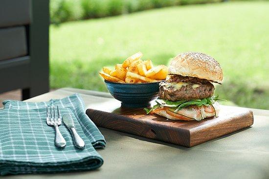 Dunkeld West, South Africa: Bompas burger   aged cheddar   smoked paprika   pickled cucumber
