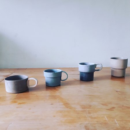 New products - set of expresso cups using bone china clay mixed with clay process from quarry by hand - by collaborator carly breame