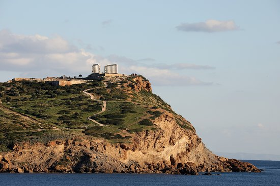 Cape Sounion Private Half-Day Trip from Athens with Picnic: Temple of Poseidon taken from the coastline.