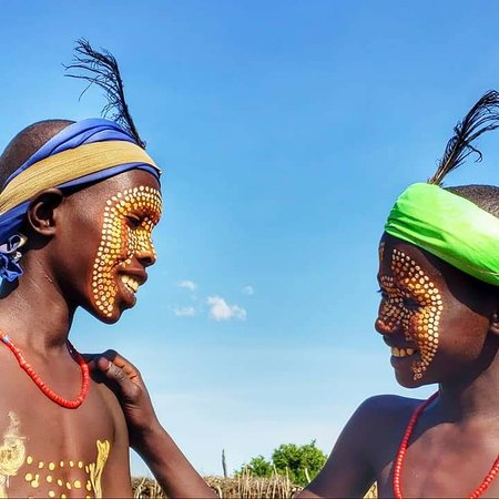 Omo Valley Tours: Arbore tribes boys enjoying with their traditional body paintings