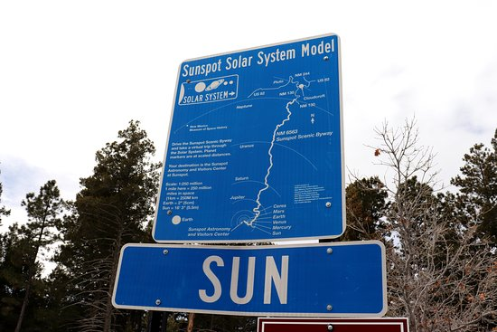 Sunspot, NM: Map of the Solar System and distances of planets relative to the length of the road to the observatory