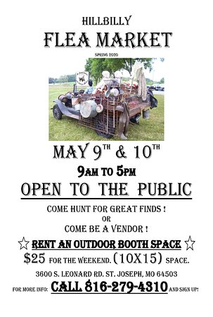 Come join us! Be a vendor yourself!  Or come hunt for great finds. Food on sight.