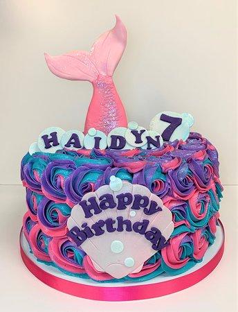 neon mermaid birthday cake
