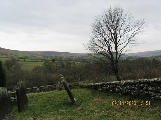 Beautiful old graveyard and setting.  Seating area.  Overlooking Bransdale Moor.  St. Nicholas C/E church.