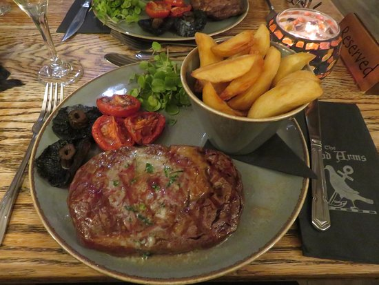 Kilve, UK: 10oz Ribeye steak - one of the best tasted in a while. Cooked to perfection.