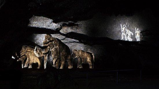 Essing, Nemecko: Krönender Abschluss jeder Führung ist eine sensationelle Zeitreise durch die Erd- und Höhlengeschichte:  Man wird Zeuge der Erdentstehung, taucht ein ins Jurameer, verfolgt den Weg der Urdonau und begegnet Eiszeittieren und den ersten Höhlenbewohnern. Von eindrucksvoller Musik untermalt, ist diese einzigartige Reise ein Erlebnis für Augen und Ohren!