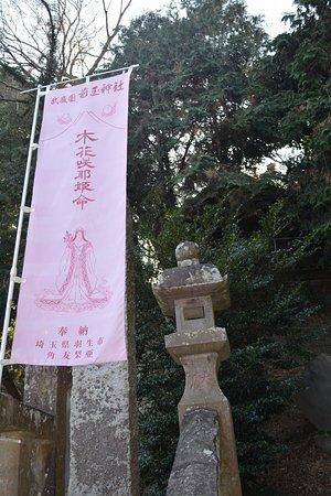 木花咲耶姫の幟が多数
