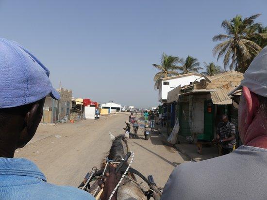 Palmarin, Сенегал: arrivée en charrette à Djiffer avec François, notre guide