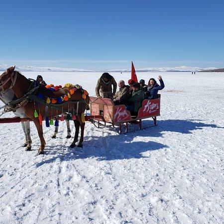 sleigh ride on lake Cilder Lake near Arpacay.