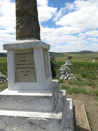 Isandlwana, South Africa: white stones represent the graves...