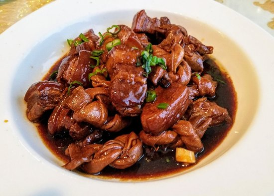 Williston Park, NY: Braised Pork with Bean Curd Sheet Knots! T4 $13.95 Delicious pork belly with bean curd sheets that are tied in knots to add texture & flavor