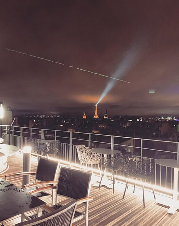Rooftop, even during the cold winter you can see its beautiful and you can see the Eiffel tower!