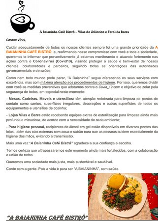 Barra, BA: A Baianinha Café Bistrô - Informe Corona Vírus