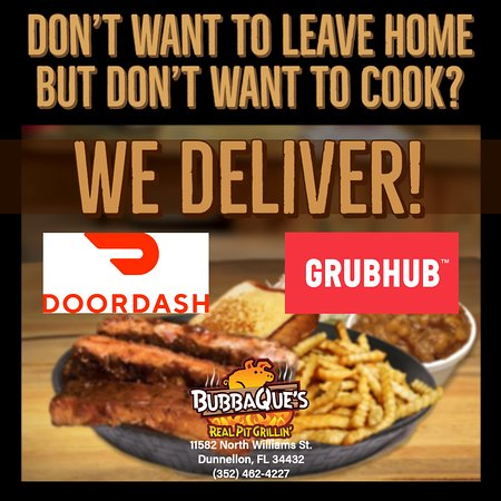 Delivery options available with Door Dash and Grub Hub.