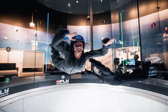 Flying inside our wind tunnel.