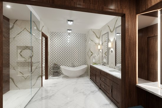 Prairie Village, KS: Our master bathroom in our Grand Suite caters to all of your needs. From soaking tub, to walk in shower with ionizing shower head, and so much more.