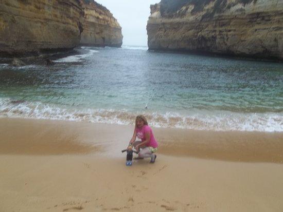 Великая океанская дорога, Австралия: Eu na praia.