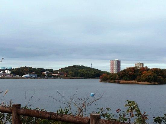 Aichi Prefecture, اليابان: 愛知池南側から米野木駅方面を望む展望休憩所からの景色。名鉄電車もよく見えます