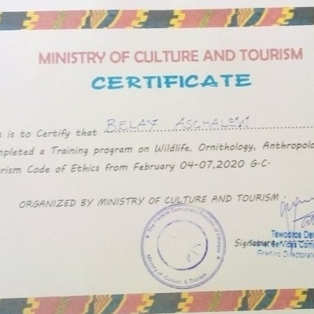 Key Afer, Эфиопия: MINISTER OF CULTURE AND               TOURISM OF ETHIOPIA     CERTIFICATE   Ethiopia is among the top world tourist destinations. It is endowed with rich historical antiquities, cultural as well as natural!