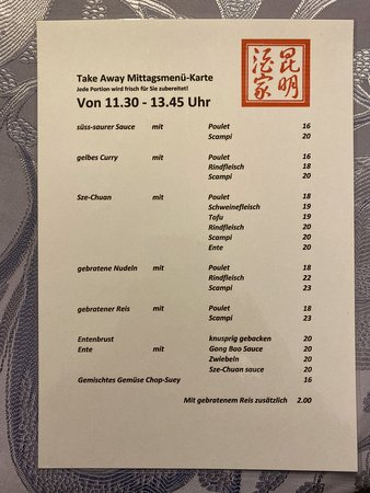 Thalwil, Suiza: Mittagsmenü – Take-Away