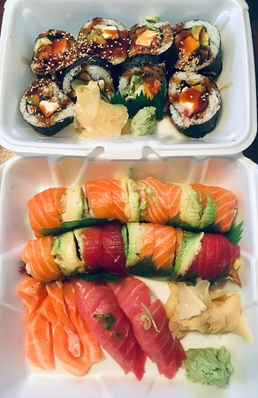 Burke, VA: From top: Samurai Roll, Super Salmon, Rainbow Roll, cuts of Salmon, Toro (Fatty Tuna)