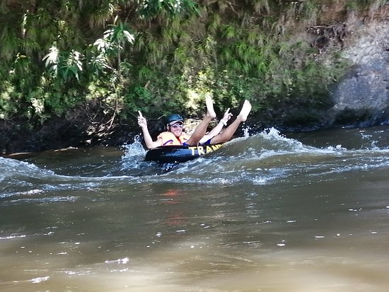 Batang Duri, Brunei Darussalam: after a hot sunny day and hike up to the canopy, optional ls given if we would like to tube back down the river with the Tuber that is provided and to feel how fun it and adventurous it is.